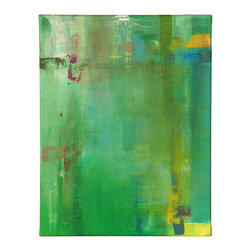 "N/A - 'Top Planes' Original Painting - ""Top Planes"" by artist Dan Nash Gottfried takes a palette of vibrant green and adds layers of texture and color to draw the viewer in. It's an engaging piece that will grace your home artfully and beautifully."