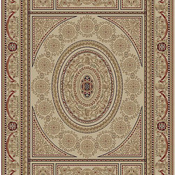 Majestic - Aubusson Ivory Oriental Rug (2'3 x 7'7) - An intricate Oriental design and 350,000 points per square meter highlight this machine-made rug. This area rug features shades of ivory,beige,gold,green,blue and red.