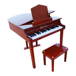 "Schoenhut - Concert Grand Piano with Opening Top in Mahogany - Inspired by the beauty of a full-size concert grand, your child will feel like a real musician with the Concert Grand Piano with Opening Top in Mahogany! An easy to understand play-by-color teaching method and song book combine to create a fantastic patented learning system designed to build a child's confidence and develop basic playing skills. Your little one will surely love the melodic chime of this piano, which will encourage him or her to play and learn for hours at a time! Features: -Ideal for ages 3 and up. -Mahogany finish. -Constructed of maple, birch, and hardboard. -Thirty-seven key, three-octave keyboard. -Song book included. -Chromatically tuned using little hammers striking precision-ground German steel music rods. -Removable color strip fits behind keys for play-by-color teaching method. -Enhances memorization and musical note reading skills. -Adult-sized keys help child learn proper ""finger stretch"". -No tuning necessary. -Awarded ""Smart Play-Smart Toy"" by Dr. Toy. -Slow opening / closing hinge. -Available separately in Black and White finishes.  Specifications: -Piano dimensions: 21.5"" H x 24"" W x 27"" D. -Bench dimensions: 9.25"" H x 14"" W x 6"" D. -Product weight: 34 lbs."