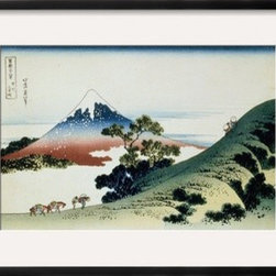 Artcom - 36 Views of Mount Fuji, no. 9: Inume Pass in the Kai Province by Katsushika Hoku - 36 Views of Mount Fuji, no. 9: Inume Pass in the Kai Province by Katsushika Hokusai is a Framed Giclee Print set with a CHELSEA Black wood frame and a Crisp - Bright White mat.