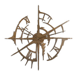 Uttermost - Gallatin Metal Clock - Kids have a hard time telling time these days, since so many clocks are now digital. This stunning, hand-forged metal clock will make the process an exciting challenge. Add some roman numerals and creative metalwork and you will look forward to every glance to catch the time.