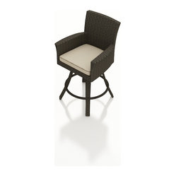 Forever Patio - Hampton Outdoor Swivel Bar Stool, Chocolate Wicker and Beige Cushions - The Forever Patio Hampton Patio Wicker Swivel Bar Stool with Cream Sunbrella cushions (SKU FP-HAM-SBS-CH-AC) combines the fun of bar seating with the comfort of a dining armchair. The UV-protected, chocolate-colored wicker sports a flat woven design, creating a contemporary look with clean lines. Each strand of this outdoor wicker is made from High-Density Polyethylene (HDPE) and is infused with its rich color and UV-inhibitors that prevent cracking, chipping and fading ordinarily caused by sunlight. This modern outdoor bar chair is supported by thick-gauged, powder-coated aluminum frames that make it more durable than natural rattan. This swivel chair includes a fade- and mildew-resistant Sunbrella cushion for added comfort to your outdoor space.