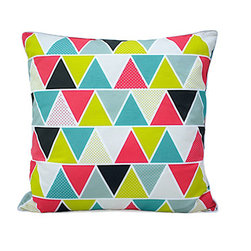 Moderncre8ve - Modern Geometric Triangles 18 x18 Down Throw Pillow w/ White Piping - Modern Geometric Triangles 18 x18 Down Pillow w/ White Piping