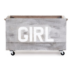 Zentique - Storage Cart, Girl - The Storage Cart is handcrafted made from recycled wood with casters. Sizes and finishes may vary due to the nature of the wood and the item being handmade.