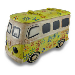 Zeckos - Ceramic 60s Style Hippie Van Cookie Jar - This multicolored ceramic cookie jar adds a great touch of nostalgia to beach or retro themed kitchens with a hand-painted finish reminiscent of the days of Woodstock. With a luggage rack at the ready on the roof (lid), this fun cookie jar is the perfect place to hide your stash.... Of cookies, that is. The cookie jar measures 13 inches long, 8 inches high and 5 inches wide. It is hand painted with flowers, peace signs and hippie slogans. with a perfectly weathered finish. Display it prominently, because everyone will think it's far out, man