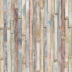 "Komar - Vintage Wood Wall Mural - This mural is 6' x 8'4"" and comes as four easy to install panels. Made in Germany. Roll Coverage: 50 square feet. Paste Included."