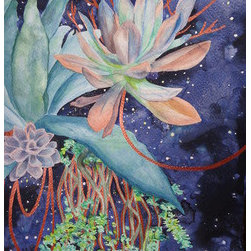 Night Blooms (Original) by Allison Patera - This piece features succulent plants floating in the night sky, like a burst of color in a deep sleep. It was painted in watercolor and copper acrylic paint.