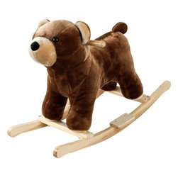 Happy Trails - Happy Trails Plush Rocking Barry Bear w Sound - Age: 3-4 years. Growling Sounds. Requires 2 AA Batteries (Not Included). Dimensions: 28.5 in. L x 13.625 in. W x 19.375 in. HThis soft, plush Rocking Barry Bear from Happy TrailsTis sure to be your child's favorite toy. It is hand crafted with a wood core and stands on sturdy wooden rockers. It even makes growling sounds! All with only a touch of its ear! Your little one will enjoy hours exploring the wilderness with this wonderful Plush Rocking Barry Bear from Happy Trails.