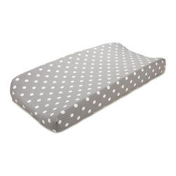 """Liz and Roo - Gray with White Dots Contoured Changing Pad - White polka dots on gray background contoured changing pad. Made to last with 100% cotton twill and 1"""" elastic."""