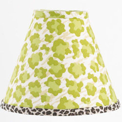 """Cotton Tale Designs - Here Kitty Kitty Standard Lamp Shade - A quality baby bedding set is essential in making your nursery warm and inviting. All Cotton Tale patterns are made using the finest quality materials and are uniquely designed to create an elegant and sophisticated nursery. Here Kitty Kitty shade in bright green with cheetah bias trim measures 8 x 9 x 4. Spot clean only. Neutral lamp shade made in the USA.; Weight: 1 lb; Dimensions: 4""""L x 9""""W x 8""""H"""