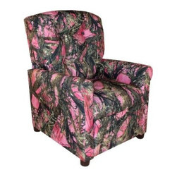 Dozydotes 4-Button Kid Recliner - Camouflage Pink with True Timber Fabric - The Dozydotes 4-Button Kid Recliner - Camouflage Pink with True Timber Fabric is a perfect addition to your little girl's room. This chair is durably crafted of solid hardwood and features an easy-recline mechanism that makes relaxing even easier. It's upholstered in True Timber that's button tufted into a diamond pattern. About DozydotesDozydotes' mission is to bring joy to children and confidence to shoppers which Dozydotes achieves by offering exclusive designs and high quality products. The brainchild of experienced mother Rene Campbell and elementary educator Alisa Clark-Slodoba Dozydotes aims to bring smiles to the faces of children and parents alike with fun creative products. Designed with kids in mind Dozydotes recliner chairs are miniature versions of the real thing and are equally attractive meaning your child will have a custom-sized chair that will look great in your home.