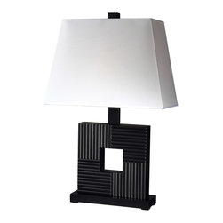 Z-Lite - Z-Lite TL107 Portable Lamps 1 Light Table Lamps in Black/White - This 1 light Table Lamp from the Portable Lamps collection by Z-Lite will enhance your home with a perfect mix of form and function. The features include a Black/White finish applied by experts. This item qualifies for free shipping!