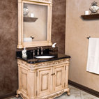 Antique White Ornate French Bathroom Vanity - Usually people congregate in the kitchen, but I might linger a bit in the bathroom if it had a vanity that transported me to 1920s Paris, like this one.