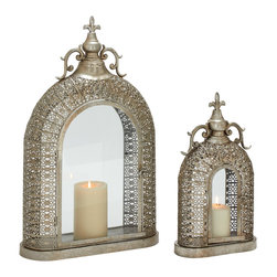 Exceptionally Designed Metal Glass Lanterns, Set of 2 - Description: