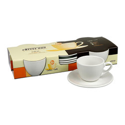 Konitz - Set of 4 Coffee Cups and Saucers - A staple of coffee houses all over the world, the traditional, white porcelain coffee cup and saucer has a classic, universal appeal. You can sip your morning brew from this set knowing that people in cafés — from Paris to Milan to New York — are doing just the same.