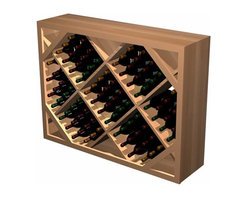 Wine Cellar Innovations - Designer Series Wine Rack- Diamond Bin below Archway - Add an eye catching focal point to your wine cellar by incorporating a Diamond Bin Archway. The Diamond Bin Archway consists of three separate components; an archway, a table top, and a half height diamond bin wooden wine rack.