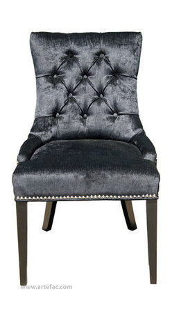 ARTeFAC - 2 - Accent Tufted Fabric Dining Chair with Silver Nail Head, Black - 2 - Accent Tufted Fabric Dining Chair in Black Linen with Silver Nail Head