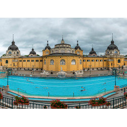 PrintedArt - Budapest Bathhouse - Print is made with archival pigment inks for best color saturation and contrast with a 75-year guarantee against fading or discoloring. Mounted on light-weight but rigid aluminum dibond board to create a float-on-the-wall piece of art. Also available face-mounted with acrylic.