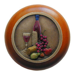 """Inviting Home - Best Cellar Cherry Wood Knob (hand-tinted brass) - Best Cellar Cherry Wood Knob with hand-cast hand-tinted brass insert; 1-1/2"""" diameter Product Specification: Made in the USA. Fine-art foundry hand-pours and hand finished hardware knobs and pulls using Old World methods. Lifetime guaranteed against flaws in craftsmanship. Exceptional clarity of details and depth of relief. All knobs and pulls are hand cast from solid fine pewter or solid bronze. The term antique refers to special methods of treating metal so there is contrast between relief and recessed areas. Knobs and Pulls are lacquered to protect the finish. Alternate finishes are available."""
