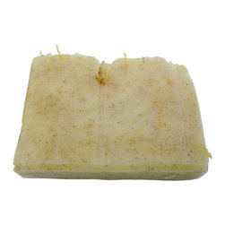 Skinsations Soap & Bath Products - Bergamot Lemongrass Handmade Soap - Our absolute best seller, with it's fresh lemony scent.  Lemongrass is thought to be astringent and anti-bacterial, while bergamot is also thought to be beneficial for skin conditions.  We have added ground apricot seeds for exfoliation and this soap has an extra boost of shea butter for moisturizing.  Topped with calendula petals.