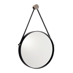 Expedition Iron Mirror with Polished Nickel Hanger - Mixed metals and unusual visible hardware combine with a simple shape for perfectly casual elegance in the Expedition Mirror.  Unique but upscale, intriguingly shaped but classically simple, the round mirror has a plain black iron frame which hangs by a black leather strap, similar to a picture rail's hanging cords, from a knob of polished metal, giving the impression of a more formal era's gentlemanly adaptation to the circumstances of travel.