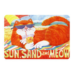 Caroline's Treasures - Orange Tabby At The Beach Kitchen Or Bath Mat 24X36 - Kitchen or Bath COMFORT FLOOR MAT This mat is 24 inch by 36 inch.  Comfort Mat / Carpet / Rug that is Made and Printed in the USA. A foam cushion is attached to the bottom of the mat for comfort when standing. The mat has been permenantly dyed for moderate traffic. Durable and fade resistant. The back of the mat is rubber backed to keep the mat from slipping on a smooth floor. Use pressure and water from garden hose or power washer to clean the mat.  Vacuuming only with the hard wood floor setting, as to not pull up the knap of the felt.   Avoid soap or cleaner that produces suds when cleaning.  It will be difficult to get the suds out of the mat.