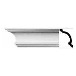 Renovators Supply - Cornice White Urethane Hilton Head - Cornice - Simple | 11734 - Cornices: Made of virtually indestructible high-density urethane our cornice is cast from steel molds guaranteeing the highest quality on the market. High-precision steel molds provide a higher quality pattern consistency, design clarity and overall strength and durability. Lightweight they are easily installed with no special skills. Unlike plaster or wood urethane is resistant to cracking, warping or peeling.  Factory-primed our cornice is ready for finishing.  Measures 4 inch H x 96 inch L.