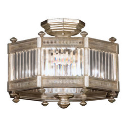 Fine Art Lamps - Eaton Place Silver Semi-Flush Mount, 584640-2ST - Inspired by Edwardian architecture, this simple yet impressive fixture will bring stately sophistication to your home. An octagon of faceted channel-set crystal and muted silver leaf finish, it will look lovely in any traditional setting.