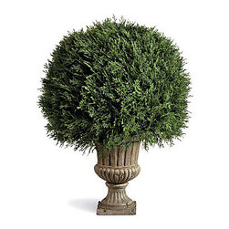 """Improvements - 20"""" Cypress Ball Topiary - This lovely artificial topiary is great by a front door, on a patio or deck, or in any corner of your home. With the Cypress Ball Topiary, you won't have to bother with watering or trimming. This artificial topiary is weather-resistant and easy to move. Our Cypress Ball Topiary looks wonderfully real, even up close. The Cypress Ball Topiary is a beautiful way to enhance any space, outdoors or in. Sculpted in a large ball shape, this faux topiary features feathery cypress branches that are weather-resistant and long lasting. Just place the weighted plastic pot inside one of our stone-look urns (sold separately) or use your own decorative planter. With its thick polyethylene foliage, the Cypress Ball Topiary looks so realistic you'll have to touch it to see that it isn't. Best of all, this artificial topiary never needs watering or trimming! NOTE: Urn planter shown at left is sold separately.Benefits of the Cypress Ball Topiary:  Looking for a different style? Check our complete selection of Topiaries & Artificial Plants."""