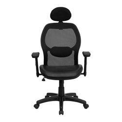 Flash Furniture - High Back Super Mesh Office Chair with Black Italian Leather Seat - This mesh office chair will comfortably accommodate your needs as a office or home office chair. Chair features a breathable mesh back with a comfortably padded seat. The silver accented back adds a touch of flair to highlight your work space.