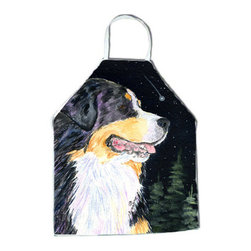 Caroline's Treasures - Starry Night Bernese Mountain Dog Apron SS8512APRON - Apron, Bib Style, 27 in H x 31 in W; 100 percent  Ultra Spun Poly, White, braided nylon tie straps, sewn cloth neckband. These bib style aprons are not just for cooking - they are also great for cleaning, gardening, art projects, and other activities, too!