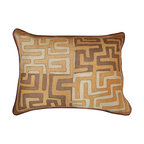 Hot Moon Collection - Kuba Raffia Cloth Large Pillow - One of a kind pillows made from vintage Kuba cloth, with wonderful geometrical applique work.