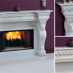 Regal Marble Fireplace Mantel - Hand-sculpted lions reside on the legs of the mantel to give a room an immediate regal air. The Regal Marble Fireplace Mantel would serve as a gorgeous design piece in any home. -Mantels Direct