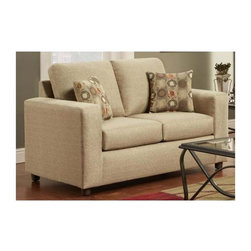 Chelsea Home - Transitional Talbot Loveseat - Includes toss pillows. Vivid beige cover. Seating comfort: Medium. Kiln-dried hardwood frame. Stress points are reinforced with blocks to secure long lasting frame. Attached back cushions. Sinuous springing system manufactured with reinforced 16-gauge border wire. Double springs are used on the ends nearest the arms to give balance in the seating. Hi-density foam cores with dacron polyester wrap cushions. Made from 53% polyester and 47% polypropylene. Made in USA. No assembly required. 60 in. L x 38 in. W x 38 in. H (115 lbs.)