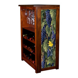 Kelseys Collection - Wine Cabinet 15 bottle Vineyard Goldfinches - Wine Cabinet stores fifteen wine bottles and glassware with licensed artwork by Rosemary Millette giclee-printed on canvas side panels  The frame, top, and racks are solid New Zealand radiata pine with a hand stained and hand rubbed medium reddish brown finish, which is then protected with a lacquer coat and top coat. The art is giclee printed on canvas with three coats of UV inhibitor to protect against sunlight, extending the life of the art. The canvas is then glued onto panels and inserted into the frames.