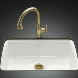KOHLER - KOHLER K-5864-5U-0 Cape Dory Undercounter Kitchen Sink - KOHLER K-5864-5U-0 Cape Dory Undercounter Kitchen Sink with Five-Hole Oversized Faucet Drilling in White