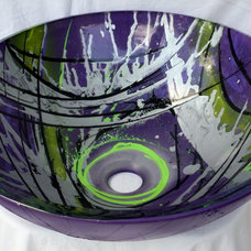 hand painted glass vessel artistic bathroom sink