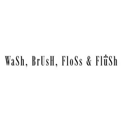 "Lacy Bella Designs - Vinyl Wall Decal ''Wash Brush Floss Flush.'' - ""Wash Brush Floss Flush"" this ""To-Do"" is for those with kiddos who like to skip out of the bath in a hurry. Have something fun and functional on your wall! Decal's dimensions are 54 x 6."
