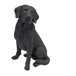 "EttansPalace - 15.5""H Tall Adorable Black Labrador Dog Garden Statue - Our amazingly life-like Black Labrador Retriever Dog Sculpture has neither a bark nor a bite worth worrying over! Whether staking out your garden or retrieving your TV remote, our Black Labrador Retriever Dog figurine will add adorable character and canine charm to home or garden. This quality designer resin exclusive is hand-painted with realistic markings that'll make garden guests do a double-take. Our Black Labrador Retriever dog statue is for the discriminating dog lover and makes the perfect gift for any canine aficionado."