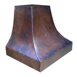 """myCustomMade - Rustic Copper Range Hood """"Houston"""", Natural Fired, 30"""", Kitchen Island - Handmade design makes this rustic copper range hood a great addition to the kitchen. Customize the rustic copper hood by choosing natural fired, coffee, honey or antique finishing. """"Houston"""" style is produced as 30, 36 or 48 inches wide. Its depth is 22"""", height 36"""" and it takes about thirty days to deliver. Once purchased specify the hood 220000034 version as wall mount or kitchen island. Enjoy free delivery."""
