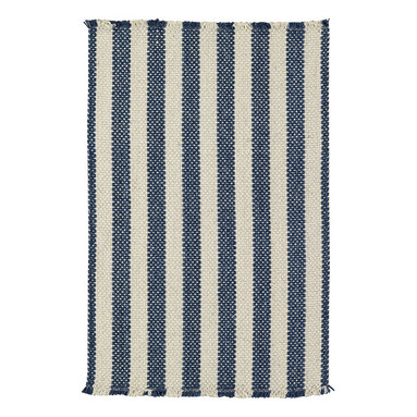 Hampton rug in Denim Stripe - The crisp basketweave look of Capel Rugs' new Hampton woven rug is a standout texture and is reminiscent of menswear-inspired furnishing fabrics.  Capel's Hampton Collection area rugs are woven with sturdy wool blend yarns.  The rich color palette ranges from tonal neutrals to primary brights.  Hampton area rugs are offered in a variety of rectangular shapes and sizes.