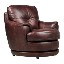 Reese Burgundy Swivel Chair - Living Spaces