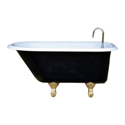 Consigned 4 ft Refinished Black & White Ladies Cast Iron Clawfoot Tub Gold Feet - 4 ft Refinished Black & White Roll Top Ladies Cast Iron Clawfoot Tub Gold Leaf Feet