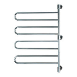 Amba - Swivel Style 25x37 Electric Heated Towel Warmer, Polished - • Swivel hinge unit rotates 180 degrees