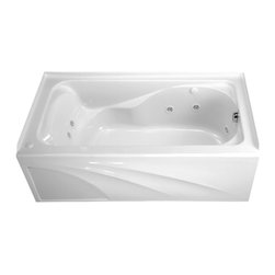"""American Standard - American Standard 2776.118WC.020 Cadet 5'X32"""" Whirlpool Right Hand Outlet, White - American Standard 2776.118WC.020 Cadet 5' X 32"""" With Integral Apron Everclean Whirlpool - Right Hand Outlet,  White. This tub features an acrylic construction with fiberglass reinforcement, an integral apron, an integral 3-sided tile/water retention flange, dual molded-in armrests with elbow supports, an EverClean system that inhibits the growth of mold, mildew, and bacteria, a single-speed pump/motor, 2 silent air volume controls, a deck-mounted air switch (on/off), and 8 multi-directional and individually flow-rate adjustable jets. It measures 59-7/8"""" by 32"""" by 20"""", and comes with a right-sided outlet."""