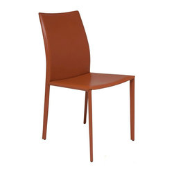 Nuevo Living - Sienna Dining Chair - Ochre - Nuevo HGAR241 - Stylish with a strong look, this Sienna Modern Chair in Ochre finish is sure to amaze. Able to match any decor, this piece has a steel tube frame, bent plywood seat with CFS foam padding and sturdy leather upholstery that will definitely last for years to come. Designed to incorporate the latest fashion trends into a comfortable, elegant, and classic style, the Sienna Chair will make a stunning addition to any home setting. Available in your choice of black, white, dark grey, ochre, mink, or chocolate colored leather.