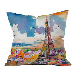 DENY Designs - Ginette Fine Art Under Paris Skies Throw Pillow - Wanna transform a serious room into a fun, inviting space? Looking to complete a room full of solids with a unique print? Need to add a pop of color to your dull, lackluster space? Accomplish all of the above with one simple, yet powerful home accessory we like to call the DENY throw pillow collection! Custom printed in the USA for every order.