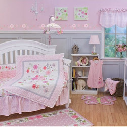 Nurture - Nurture Garden District 4 Piece Crib Set Multicolor - 109004 - Shop for Bedding Sets from Hayneedle.com! Ladybugs and butterflies flit among the blooms and blossoms in the adorable Nurture Garden District 4 Piece Crib Set which features 100% cotton fabrics and genuine hand-quilting. The four piece set includes a quilt fitted crib sheet dust ruffle and a wearable blanket. The gorgeous quilt border is a scrollwork print reminiscent of wrought iron on cotton twill with a pink and white Swiss dot cotton center panel and beautifully textured gray trim. Soft and comfortable the quilt is 100% cotton (exclusive of decoration) with cotton batting and is hand-quilted for added dimension. Flowers are appliqued in shades of delicate pink and coral velour. You'll love the elaborate embroidery detail which includes meandering vines and leaves as well as butterflies and ladybugs. Featuring a rod pocket on the back the comforter can double as a wall hanging while your baby is till too young to have a blanket in her crib. Large flower blossoms adorn the fitted crib sheet adding color and interest. Designed to fit a standard crib or toddler-size mattress the crib sheet is made from 100% cotton. Complete your baby's crib with the matching 100% cotton dust ruffle in shirred twill with a pink scrollwork print. The wearable blanket is 100% cotton and 100% soft pink interlock with embroidery and delicate flutter sleeve detailing at the shoulder. It features a two-way zipper for easy entry and diaper changes. A pull over zipper closure covers zipper and protects baby's delicate skin. Fits sizes 0-6 months.About Nurture ImaginationBased in California Nurture Imagination creates collaborative relationships with artists designer and product innovators to bring a diverse mix of imaginative products to parents and children. This thoughtfully chosen array of products and features can be seen in their many nursery collections or just in the way they approach the needs of children and the parents who never tire of caring for them.