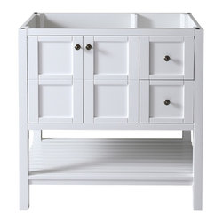VIRTU - Virtu USA Winterfell 36-inch White Bathroom Cabinet - The Virtu USA Winterfell cabinet features a simple yet classy design to add aesthetic pleasure to your bathroom. Winterfell is finished in a clean white color that is beautifully complemented by brass knobs. This elegant set features a bottom shelf,two s