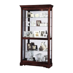"Howard Miller - Windsor Cherry Finished Wood Curio Display Ca - Elegant cabinet with dual slide glass door moves in either direction for easy access to your collection. Well-crafted details including adjustable glass shelving, acanthus leaf molding, and scalloped base house any collection in style. Convenient no reach light switch and padded metal shelf clips create optimal function and beautiful support for your precious things. * This cabinet will house any collection in style.. Acanthus leaf molding, reeded columns with top and bottom caps, and a gently scalloped base create an elegant presentation.. The front door slides in both directions to offer easy access to your collection.. A glass mirrored back enhances your collectibles.. Finished in Windsor Cherry on select hardwoods and veneers.. Halogen lighting for brighter, whiter, longer-lasting light to illuminate your collectibles.. Adjustable levelers under each corner provide stability on uneven and carpeted floors.. Cabinet is illuminated by an interior light.. Locking door for added security.. Touch-Lite adjustable light switch offers four levels of lighting: low, medium, high, and off.. A handy key holder is attached.. Glass shelves can be adjusted to any level within your cabinet.. No-Reach light switch is conveniently located on the back of the cabinet.. Pad-Lock cushioned metal shelf clips increase stability and safety.. H. 80"" (203 cm). W. 42"" (109 cm). D. 14-3/4"" (39 cm)"